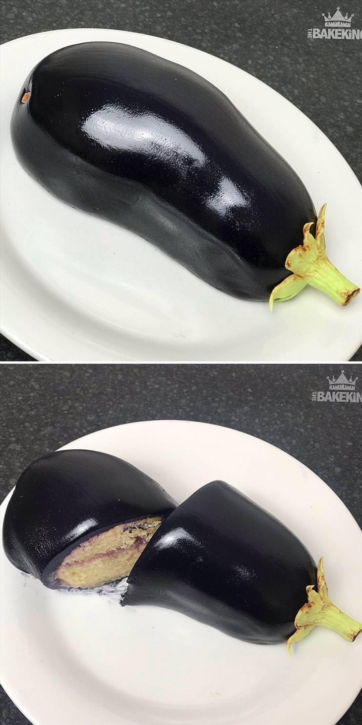 Ilusão de óptica em bolos de Ben Cullen Berinjela