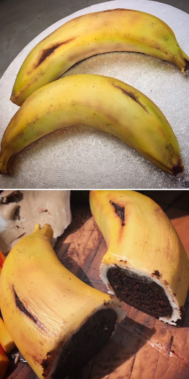 Ilusão de óptica em bolos de Ben Cullenn Bananas