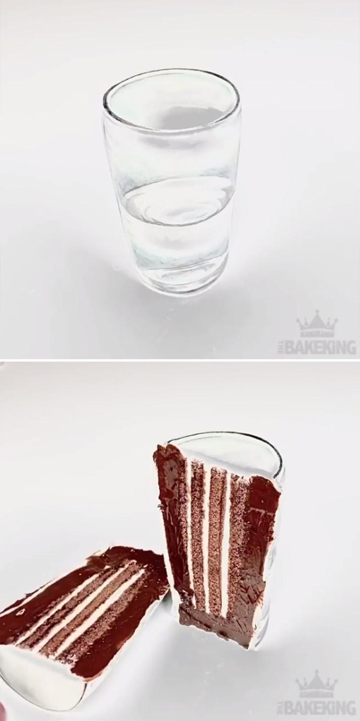 Ilusão de óptica em bolos de Ben Cullen Copo d'água