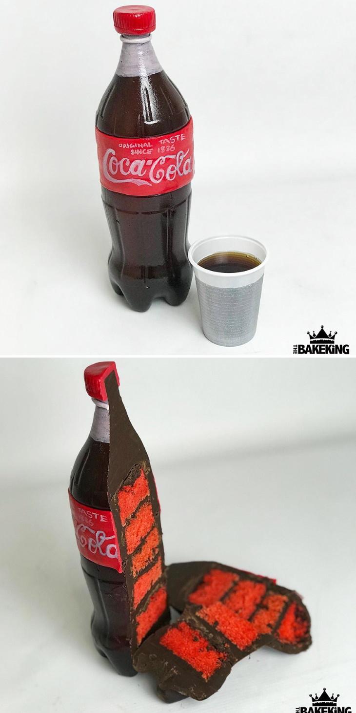 Ilusão de óptica em bolos de Ben Cullen Coca-Cola