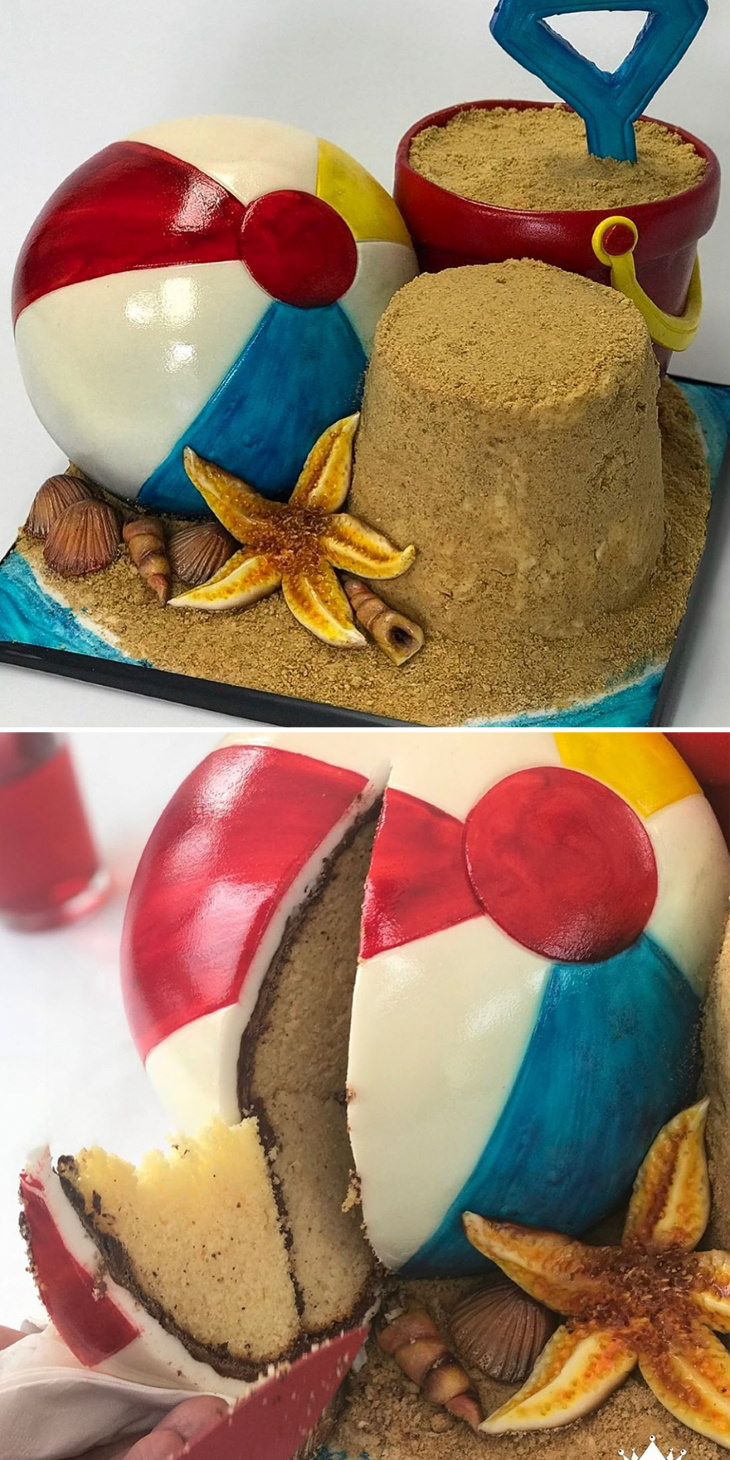Ilusão de óptica em bolos de Ben Cullen Na praia