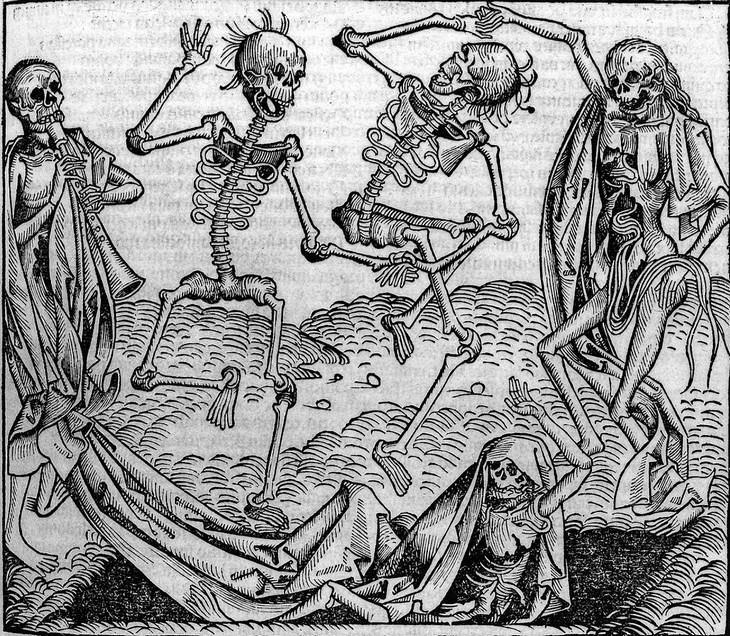Esqueletos em ilustração medieval