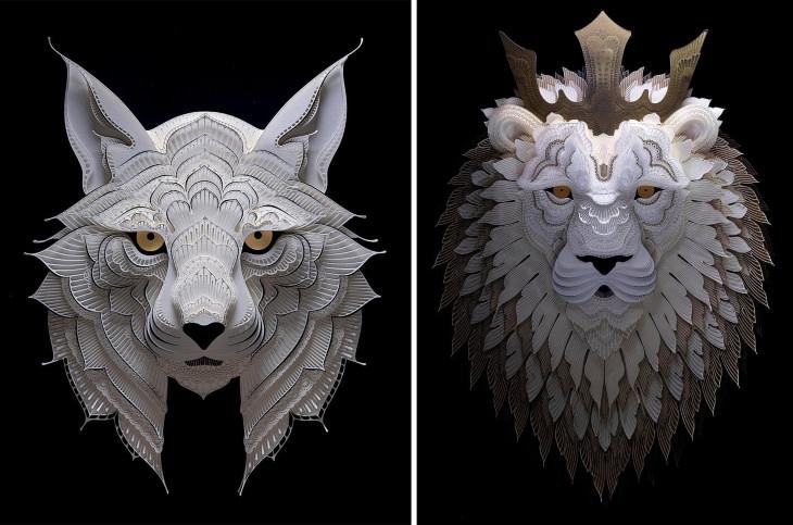 Patrick Cabral animais de papel gato selvagem (esquerda) e leão (direita)