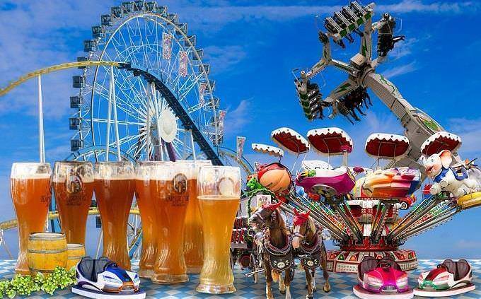 Amusement park rides and beer