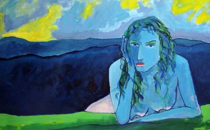 Arte final azul da mulher nu