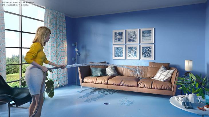 A casa do futuro imaginada por nossos ancestrais  sala de estar