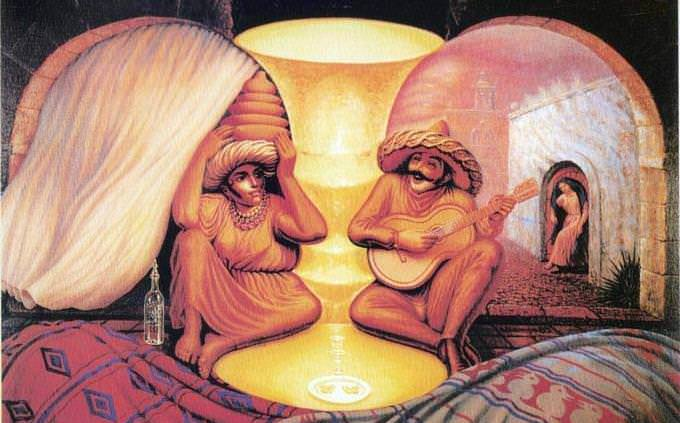 An optical illusion in which two elderly people look at each other with other elements around them