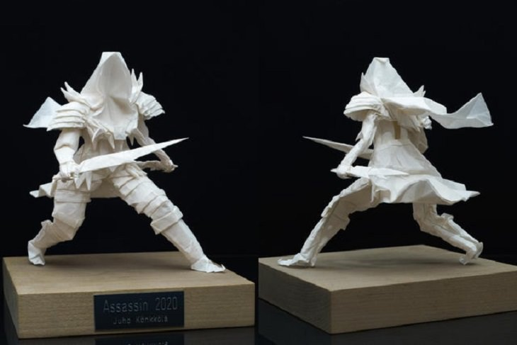 "Beautiful artistic creations made by humankind and civilization over time, An origami model entitled ""Assassin"", created purely by folding from a single square sheet."