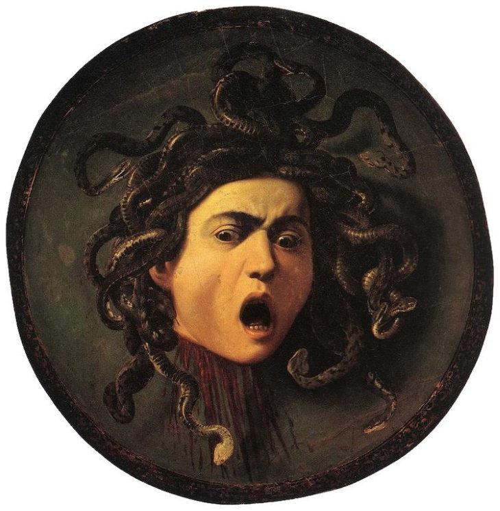 "Obras De Arte Espeluznantes ""Medusa"" de Michelangelo Merisi da Caravaggio (1597)"