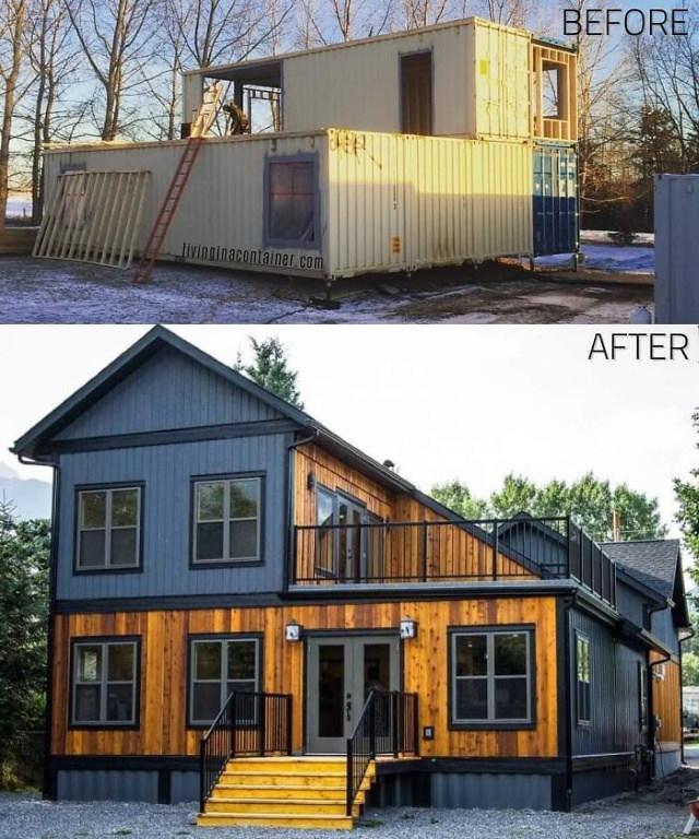 Belas casas feitas de contêineres de carga