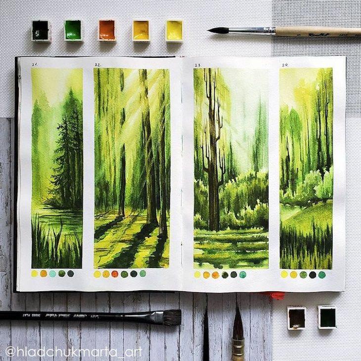 Estudos de paisagens em aquarela