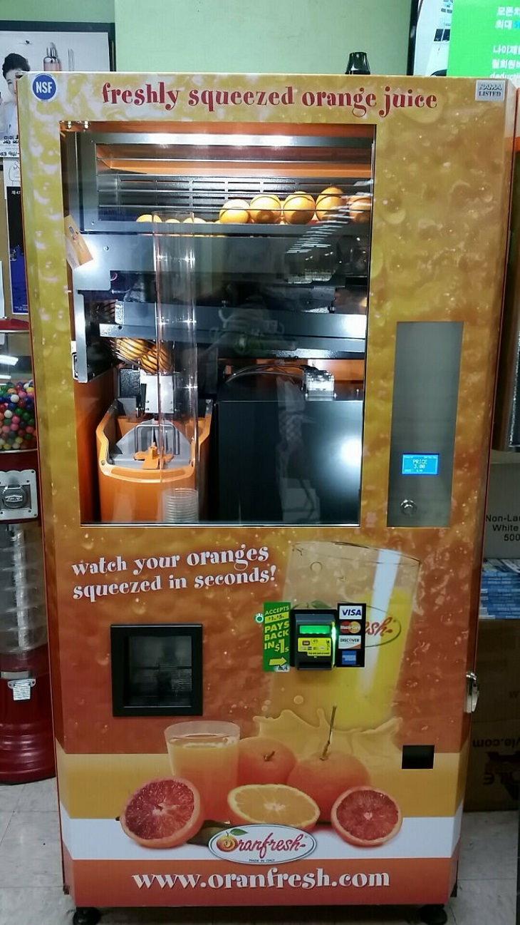 Máquinas de venda automática de suco de laranja espremido na hora