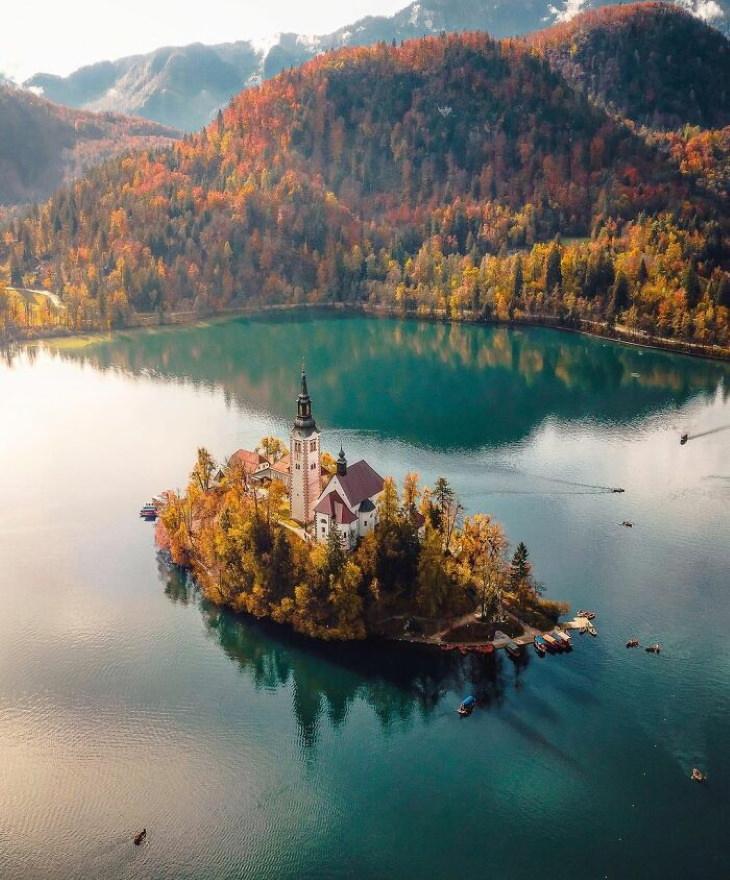 Lugares lindos em nosso planeta Lago Bled, Eslovênia