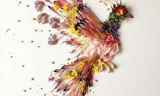 Arte Feita Com Flores Recicladas