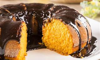 Receita Fácil de Bolo de Cenoura Coberto de Chocolate