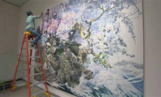 Este pintor leva anos para completar suas belas obras