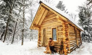 Uau! Este homem construiu essa cabana sozinho!