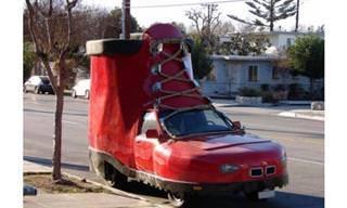 Em qual desses carros bizarros você ousaria andar?