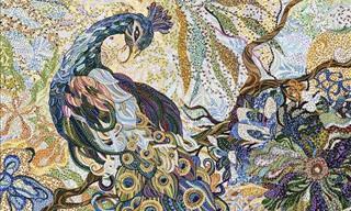 Adoráveis pinturas de flores e animais apenas com pontos