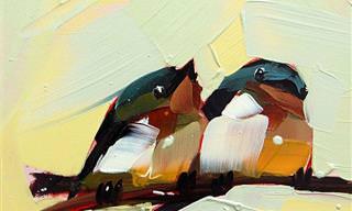 Artista Cria Pinturas com Traços Largos de Pássaros