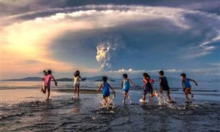 Imagens do vulcão Taal, ativo nas Filipinas