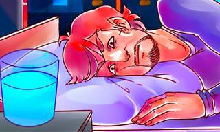 NÃO deixe um copo d'água perto da cama