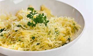 Espaguete de Abóbora ao Alho e Manteiga
