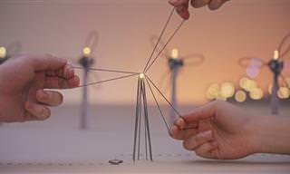 Um mundo em miniatura, iluminado por um fio