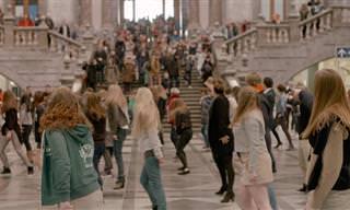 "Flashmob dançando ""Grease"" em Antuérpia"