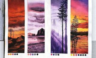 Encantadores estudos de paisagens em aquarela
