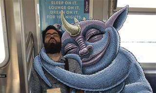18 Ilustrações Criativas de Monstros e Pessoas no Trem