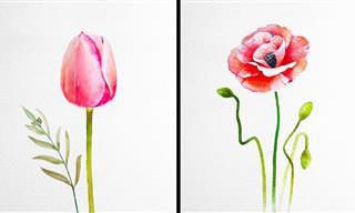 Pinturas de flores delicadas têm o poder de acalmar a alma...
