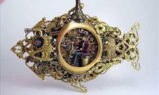 Relógios de Bolso Transformados em Arte