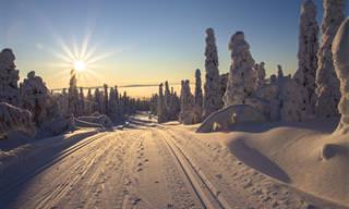 Belas paisagens do inverno nevado