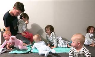 1 bebê dá trabalho, mas quando são 6 esse pai tira de letra