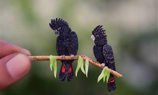 Arte de Papel de Pássaros em Miniatura