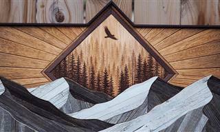 Natureza esculpida em madeira em peças admiráveis