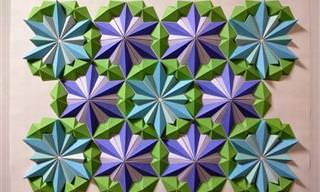 Os Impressionantes Mosaicos de Origami em 3D de Kota Hiratsuka