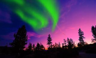 Veja o céu se transformar em um espectro de cores e luzes!