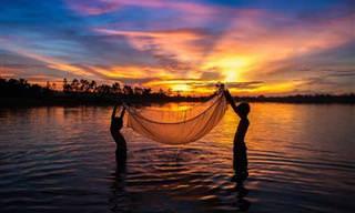 Momentos de beleza em uma vila de pescadores no Vietnã