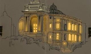 Desenhos arquitônicos que parecem iluminados