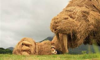 Esculturas Gigantes Feitas de Palha de Arroz