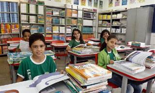 Piada: O senador visita uma escola