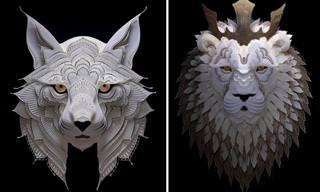 Fascinantes animais esculpidos em papel