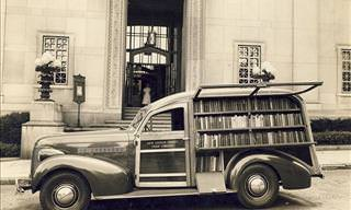 Imagens nostálgicas das bibliotecas móveis de antigamente