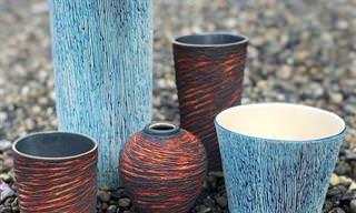 Maravilhosos objetos de cerâmica entalhada